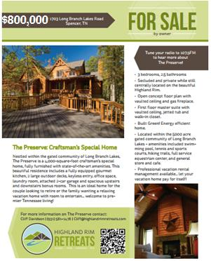 Preserve Sales Flyer
